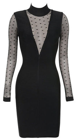 Imogen Black Mesh Bandage Dress