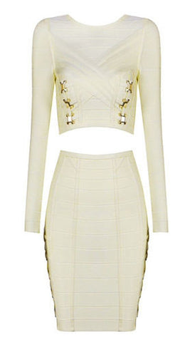 Isla White Two Piece Bandage Dress