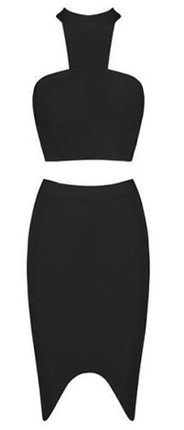 Itzel Black Halter Two Piece Bandage Dress