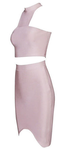 Itzel Light Pink Halter Two Piece Bandage Dress