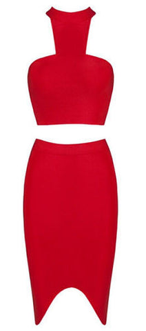 Itzel Red Halter Two Piece Bandage Dress
