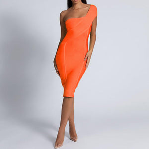 Jenna Neon Orange One Shoulder Bandage Dress
