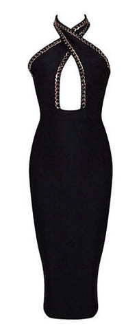Jolie Black Cutout Halter Bandage Dress