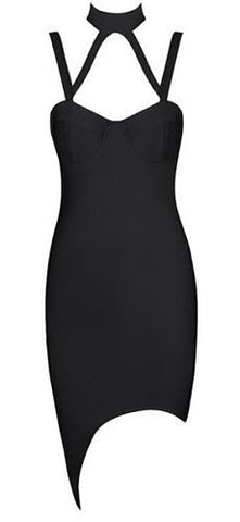 Keely Black Halter Bandage Dress