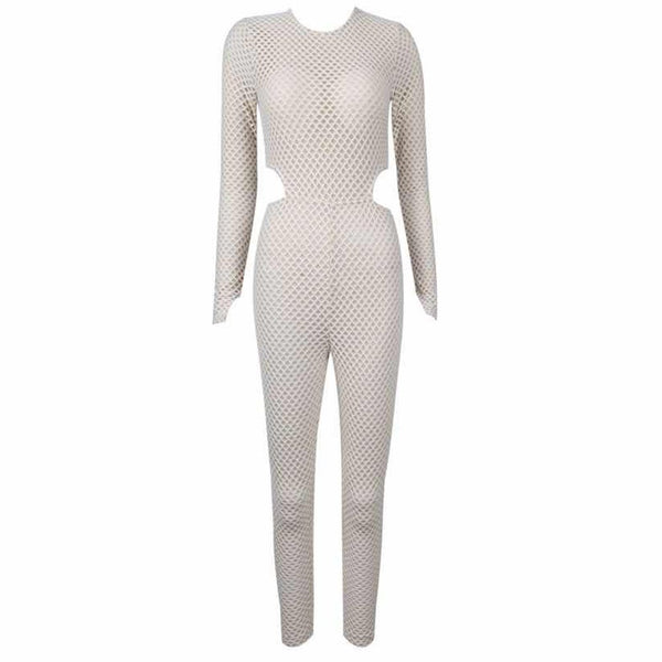 Lahela Round Neck Long Sleeve Mesh Jumpsuit