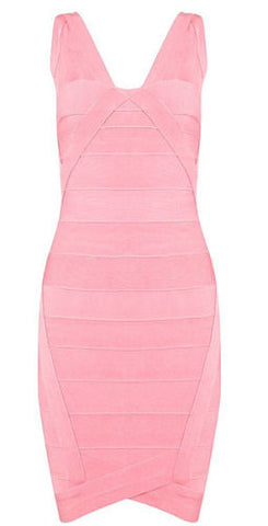 pink open back strap dress