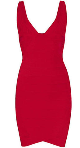 Lena Red V-Neck Bandage Dress