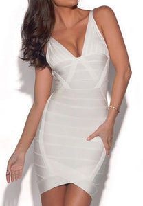Lena White V-Neck Bandage Dress