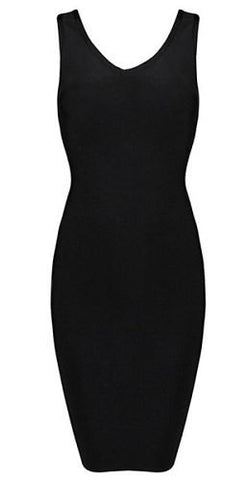 Lizzie Black Low Cut Back Bandage Dress