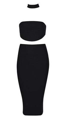 Lois Black Two Piece Bandage Dress