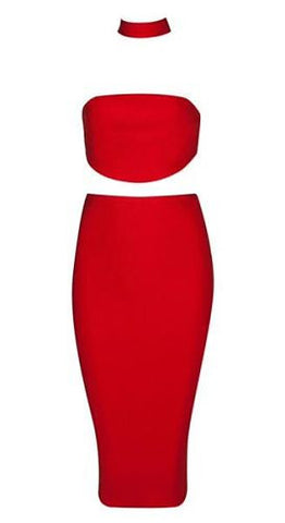 Lois Red Two Piece Bandage Dress