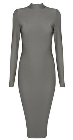 Lora Gray High Neck Long Sleeve Bandage Dress