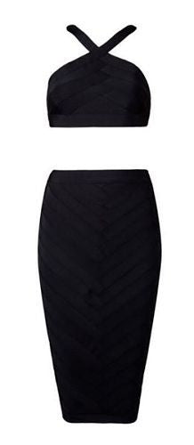 Luciana Black Two Piece Bandage Dress