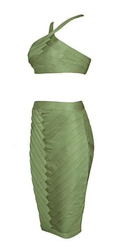 Luciana Green Two Piece Bandage Dress