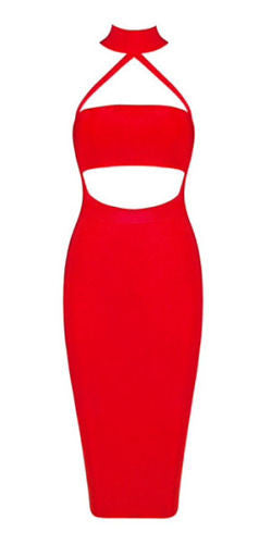 Madelyn Red Cutout Detail Bandage Dress