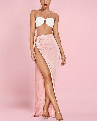 40fab9185d8 Maran Pink Strapless Top With Side Slit Long Skirt