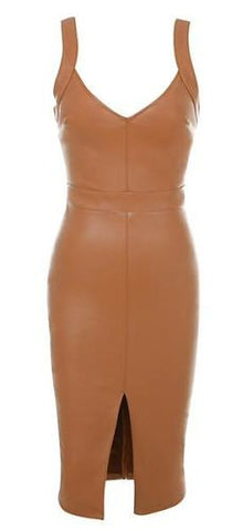 Marcella Brown Front Slit Faux Leather Dress
