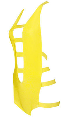Mattie Yellow Cutout Bandage Swimsuit