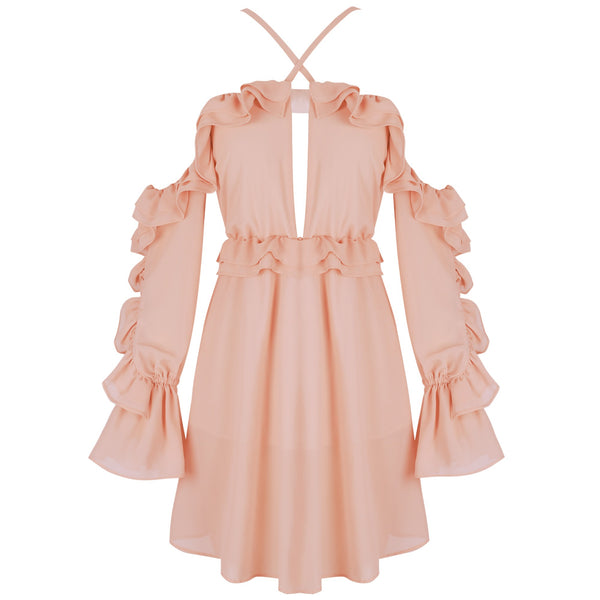 Nacelle Pink Mini Off Shoulder Ruffled Dress