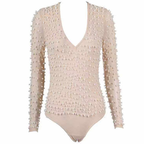 Novah Beige Bodysuit with Pearl Design