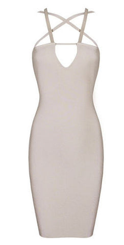 Olga Cutout Beige Bandage Dress