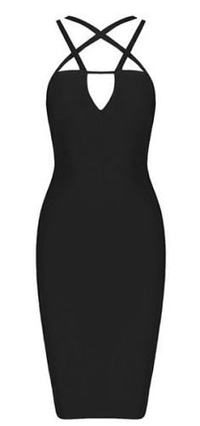 Olga Cutout Black Bandage Dress