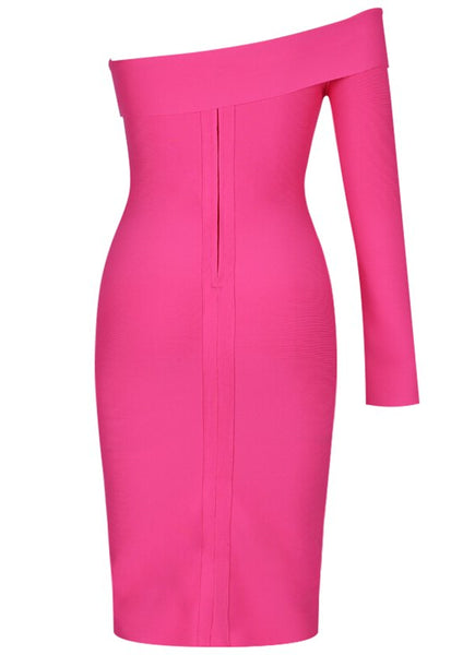 Doreen Off Shoulder Pink Bandage Dress