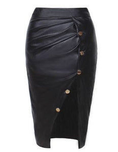 Paris Black Thigh Spilt Skirt