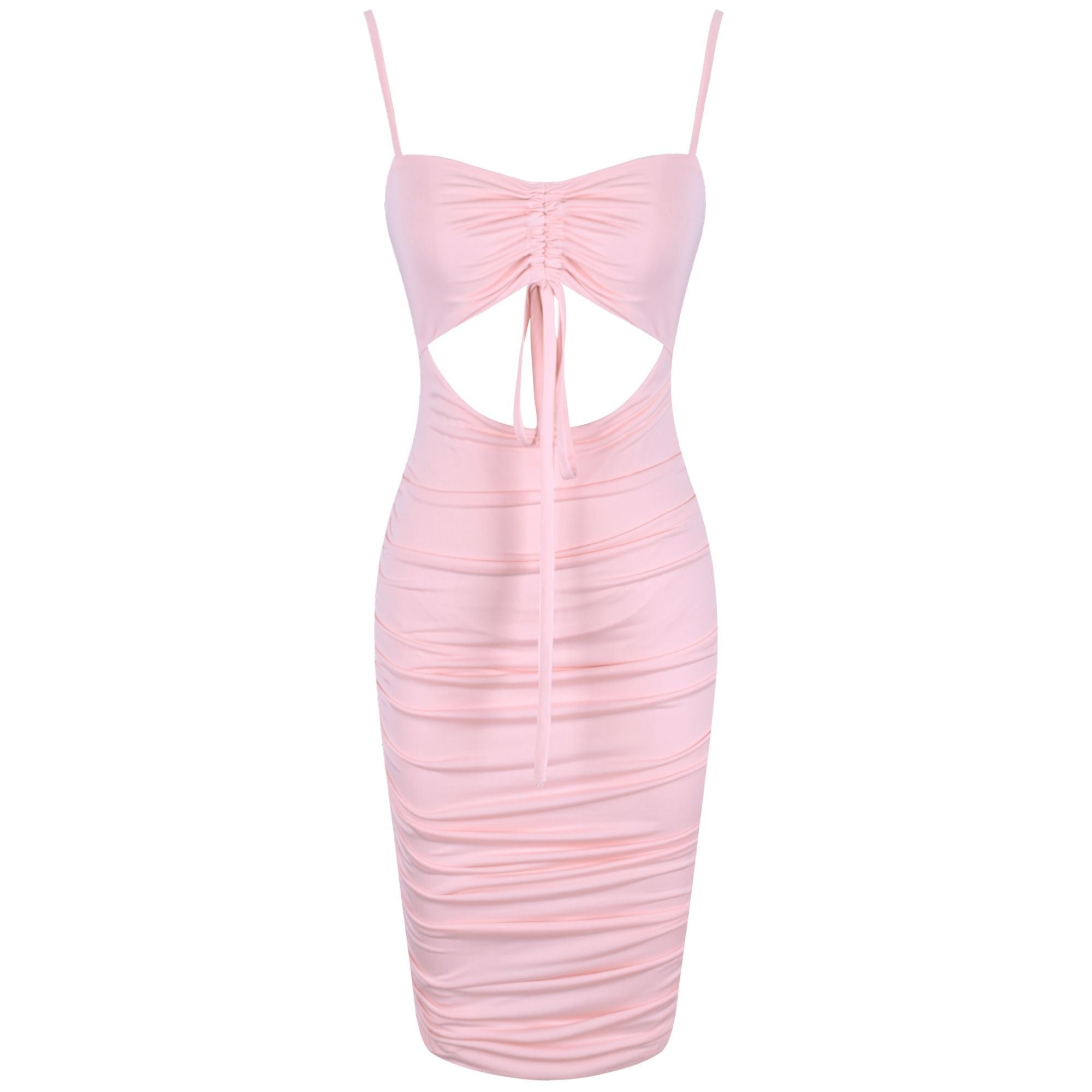 Sylvie Ruched Cut Out Spaghetti Strap Mini Dress - Pink