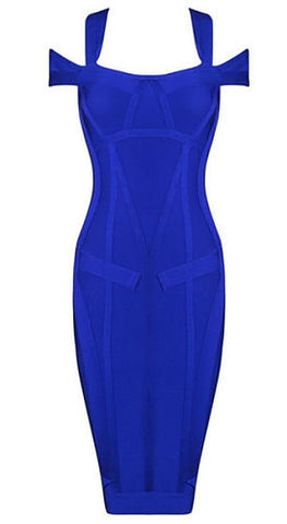 Sabina Blue Off Shoulder Bandage Dress