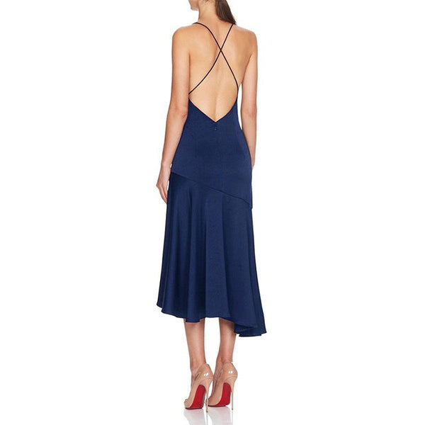 Sadiya Blue Sleeveless Midi Open Back Dress