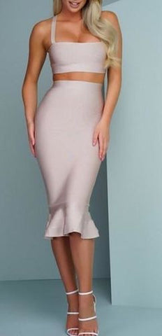 Sage Fluted Hem Two Piece Dress