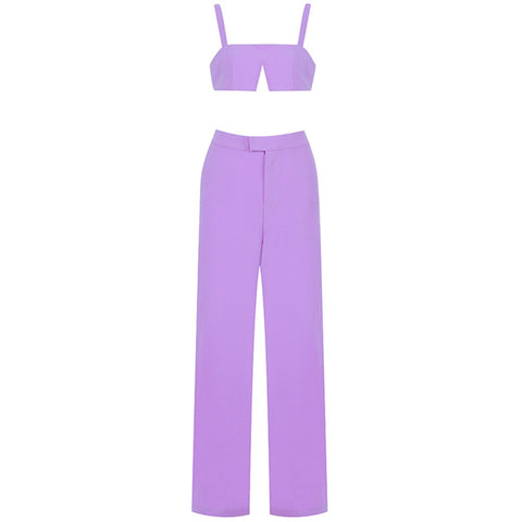 Sammy Purple Trouser and Crop Top Two Piece