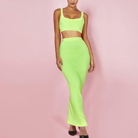 Sierra Two Piece Long Skirt Bandage Dress- Neon Green