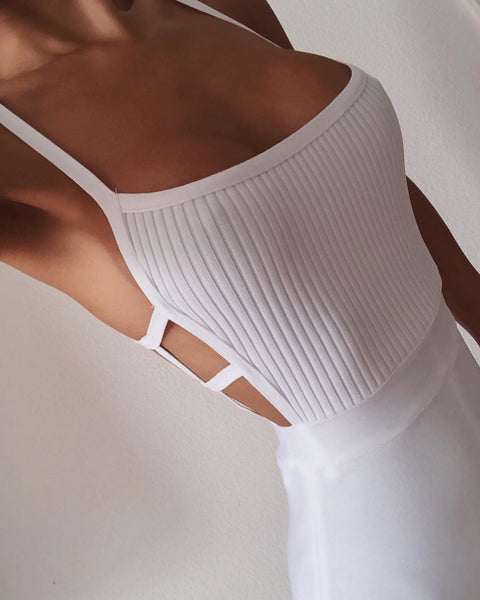 Gaerwen White Sexy Spaghetti Strap Backless Jumpsuit