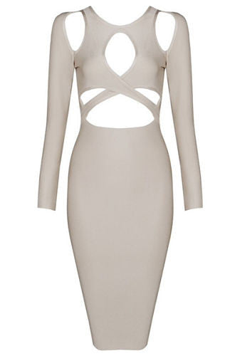 Tasmin Beige Long Sleeve Cut Out Bandage Dress