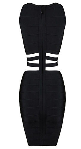 Tayla Black Cutout Detail Bandage Dress