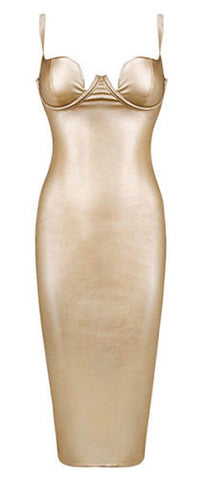 Trista Gold Faux Leather Midi Dress