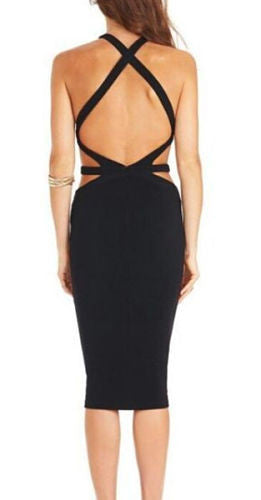 Trudy Black Cutout Back Bandage Dress