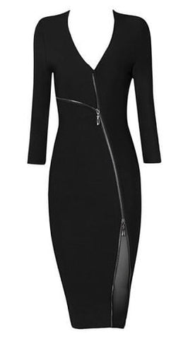 Val Front Zipper Midi Bandage Dress -Black