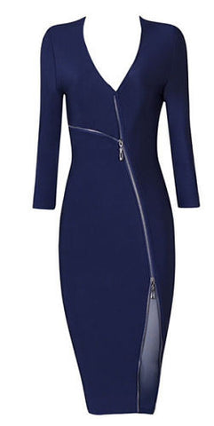 Val Front Zipper Midi Bandage Dress -Blue