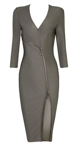 Val Front Zipper Midi Bandage Dress - Gray