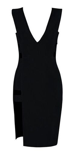 Vanna Black Cut Out Side Slit Bandage Dress