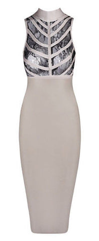 Vera Beige Lace Bandage Dress