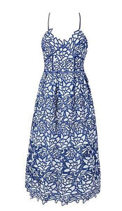 Wilda Blue and White Lace Dress