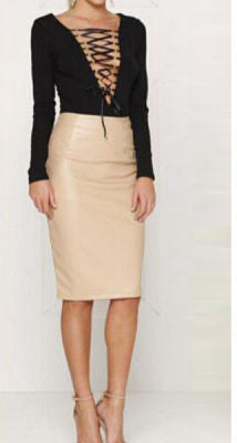 Ysabell Bandage Top w/ Faux Leather Skirt