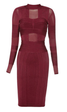 Yula Burgundy Long Sleeve Bandage Dress