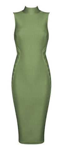 Zehra Green Turtle Neck Bandage Dress