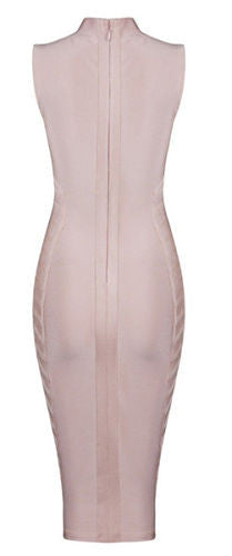Zehra Light Pink Turtle Neck Bandage Dress