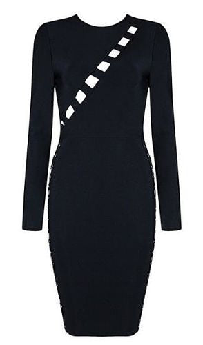 Zisel Black Long Sleeve Bandage Dress